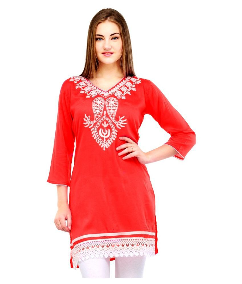O4U Red Rayon Straight Kurti