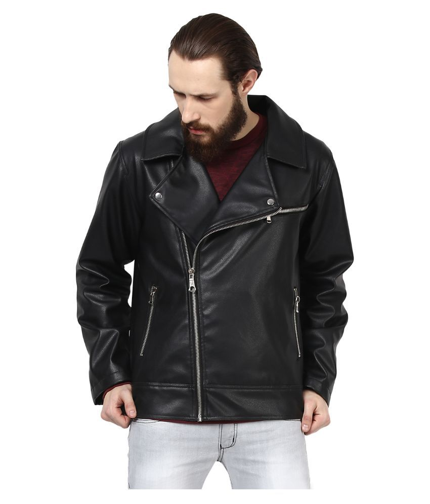 Leather jacket yepme - Yepme Black Pu Leather Casual Jacket