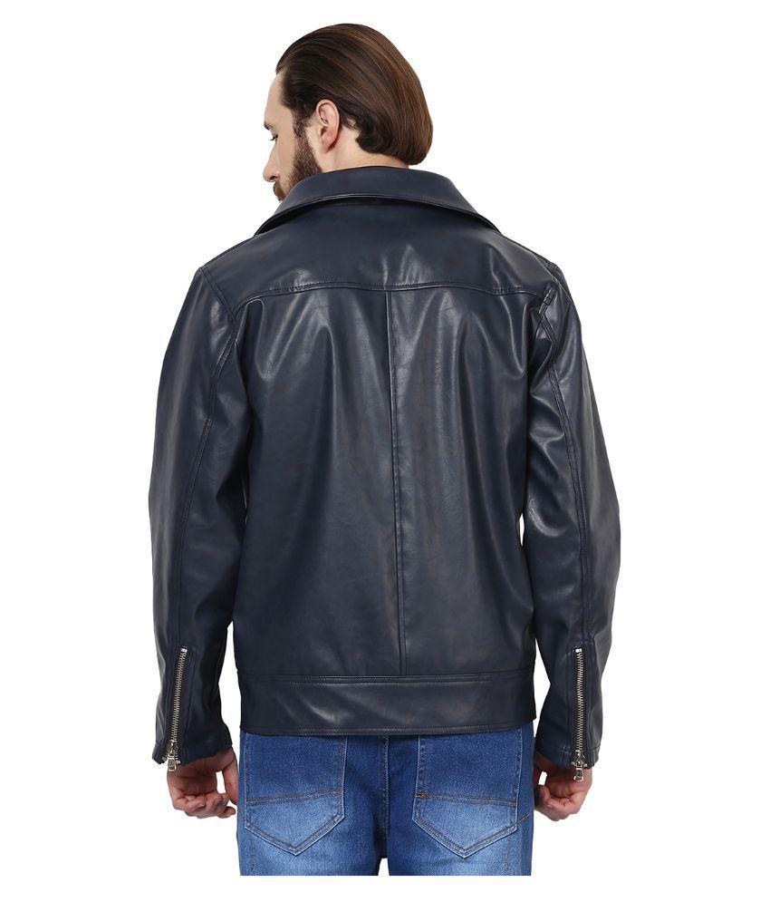 Leather jacket yepme -  Yepme Blue Pu Leather Casual Jacket