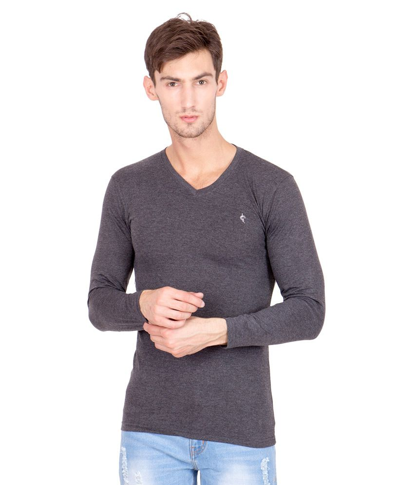 Bhanstore Grey V-Neck T Shirt