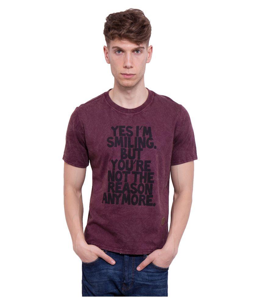 Dapple Grey Maroon Round T Shirt