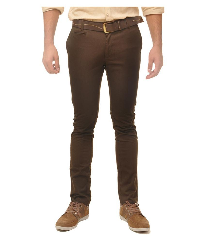 Fire On Brown Slim Fit Chinos Single