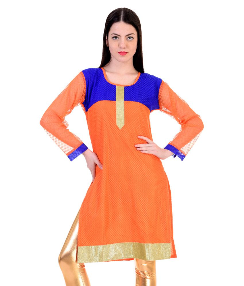 O4U Orange Net Straight Kurti