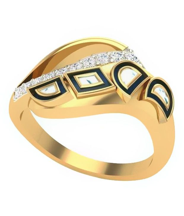 Real Diamond IGI Certified 24Kt Gold Plated Ring