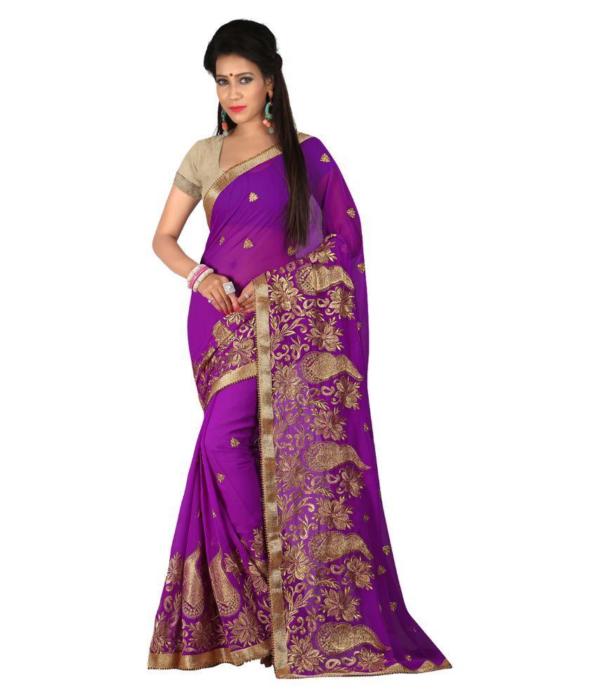Fashiondeal Purple Georgette Saree