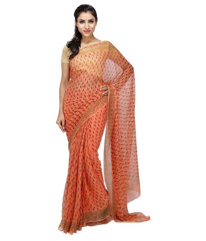 Kalyanam Peach Chiffon Saree