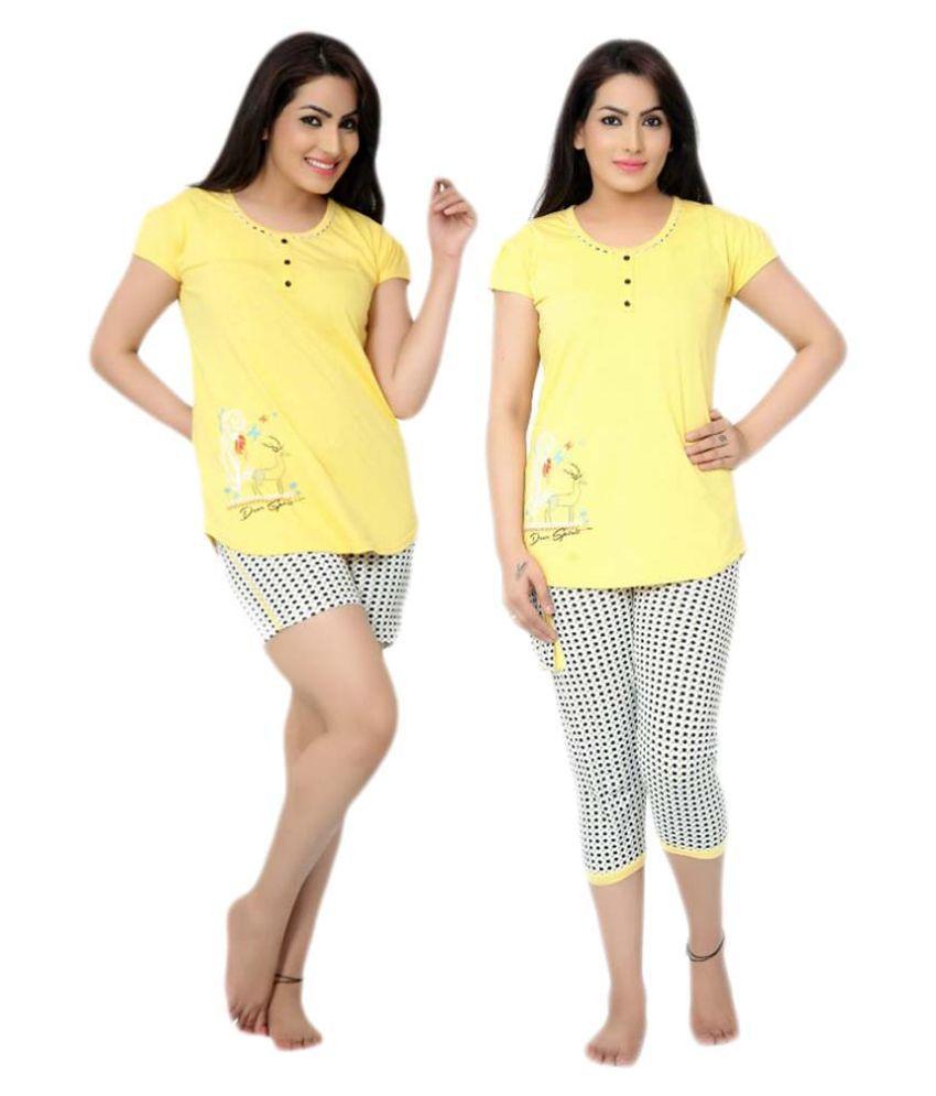 SkinWrap Yellow Cotton Nightsuit Sets - Pack of 2