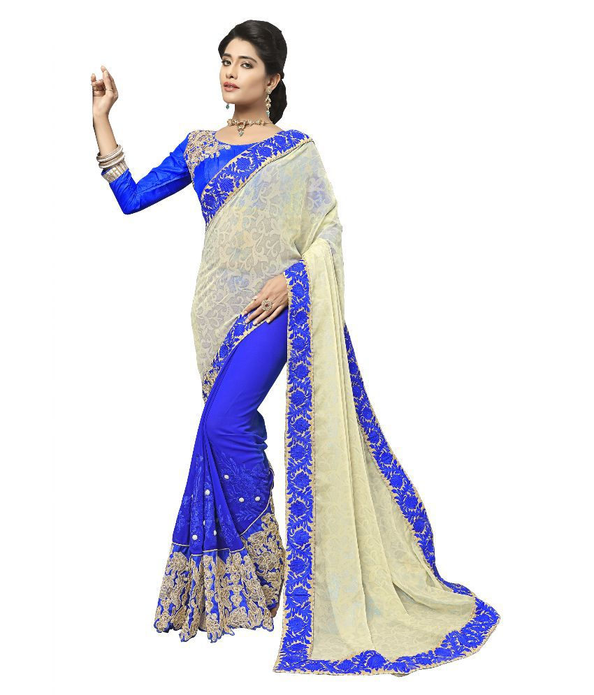 Aasvaa Blue Georgette Saree