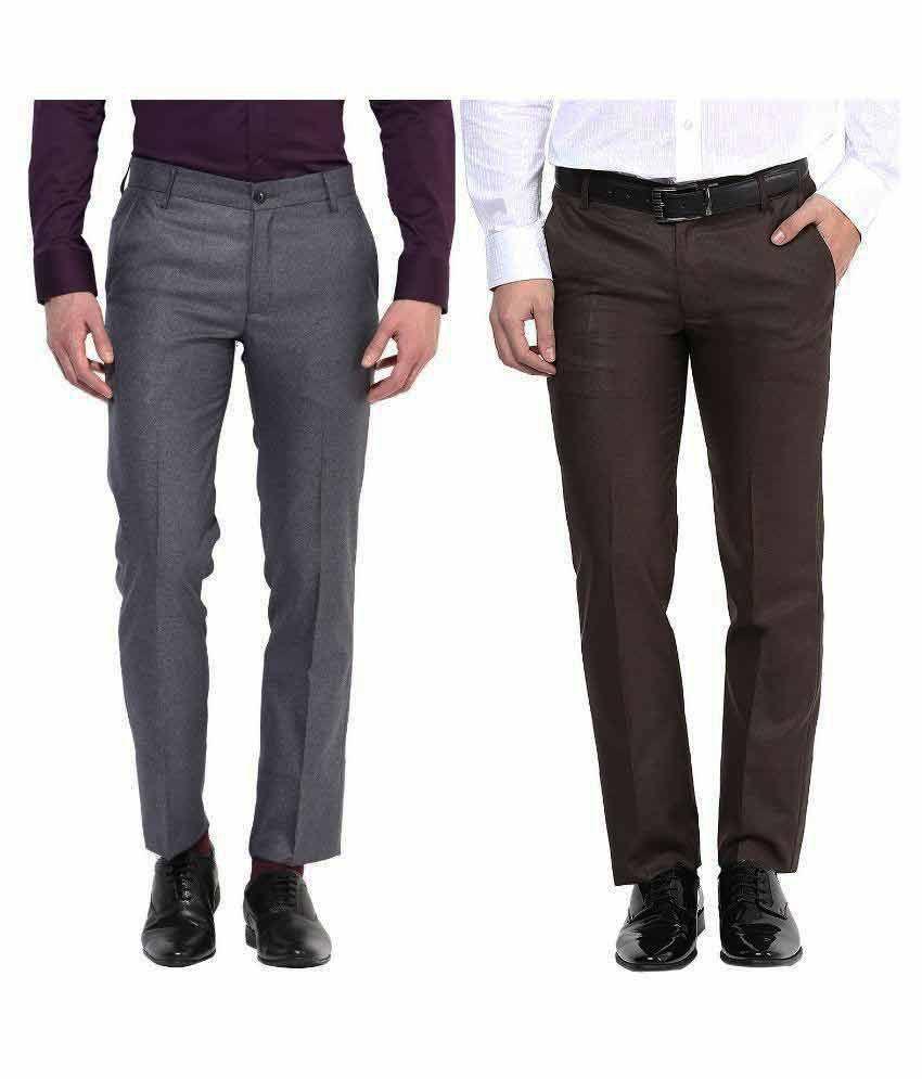 Bukkl Multi Slim Fit Flat Trousers