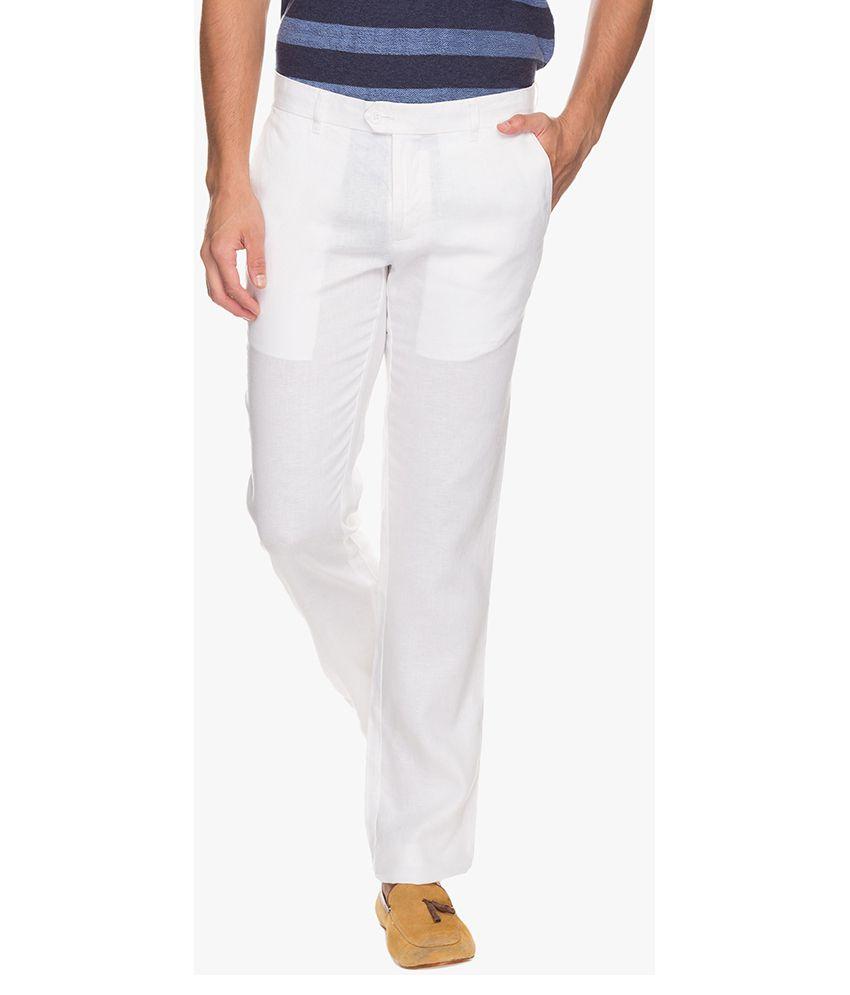 Cottonworld White Regular Fit Flat Trousers