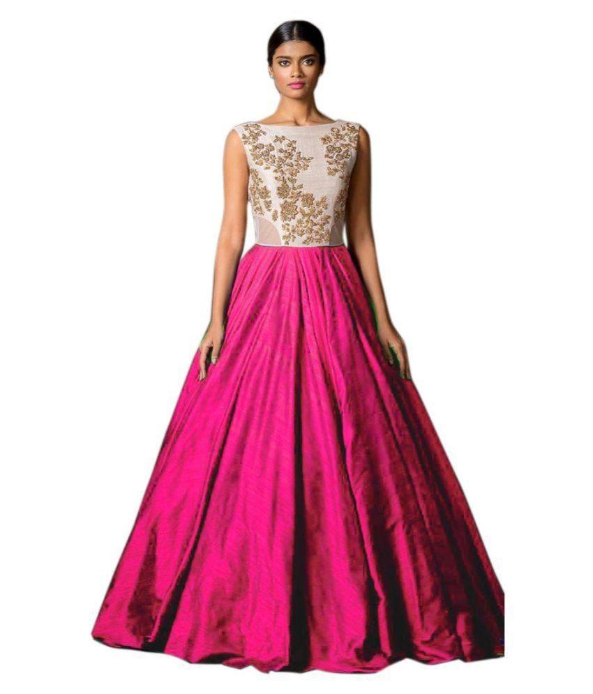 2cfbc975edf Shreeji Fashion Pink Silk Gowns