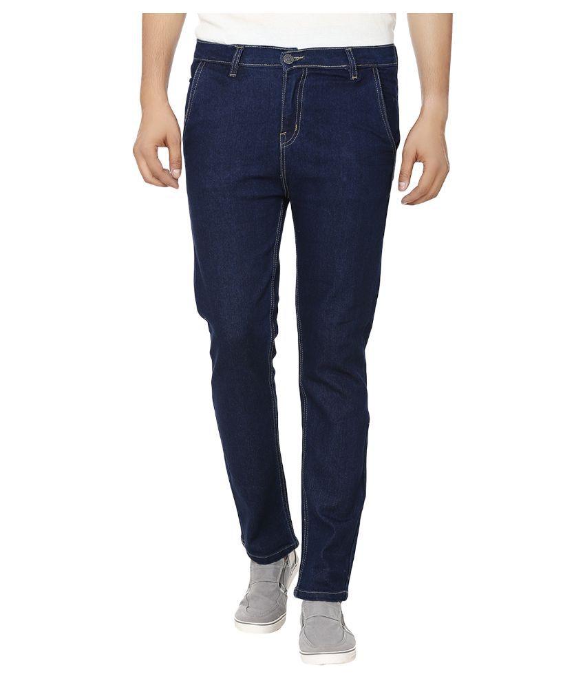 Club Vintage Blue Slim Fit Solid Jeans