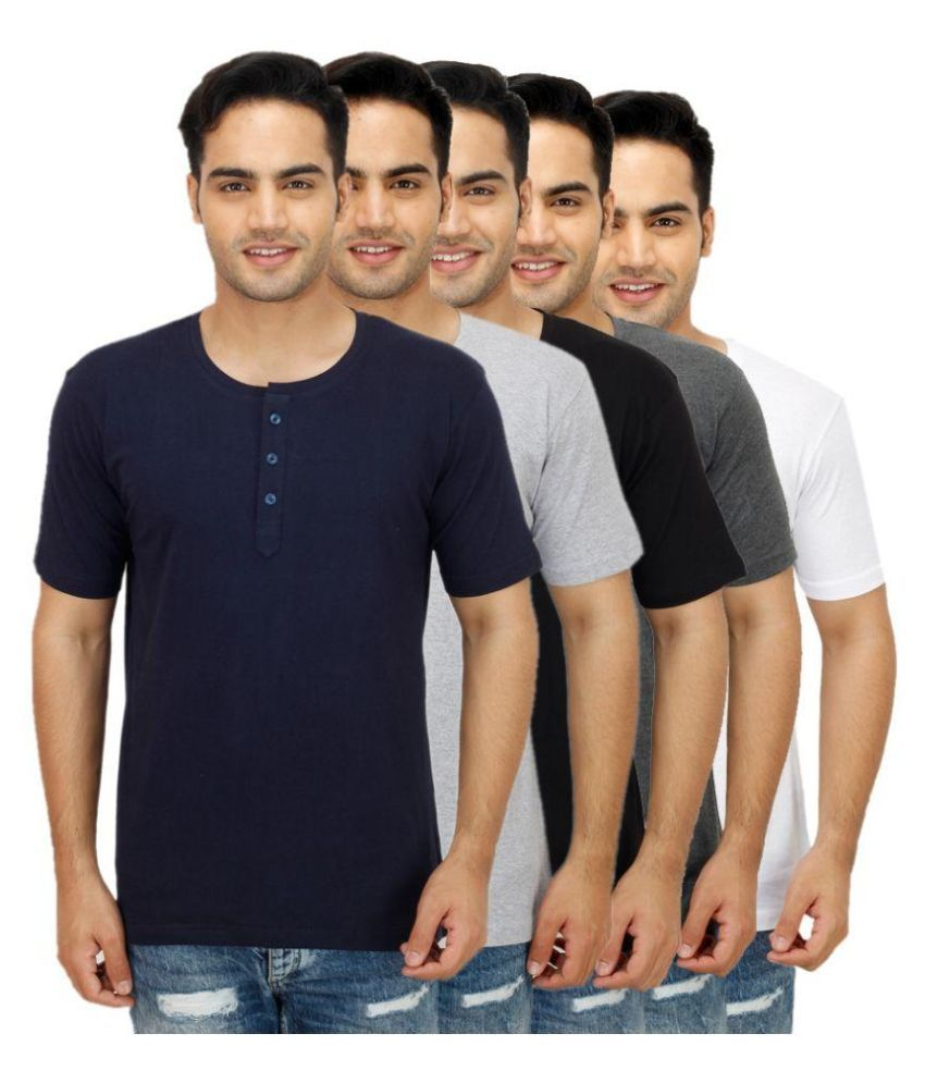 Sanvi Traders Multi Henley T Shirt Pack of 5