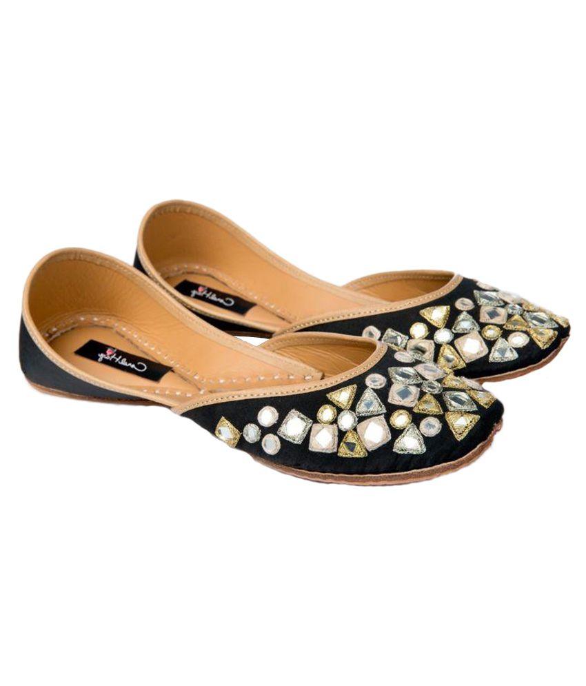 Coral Haze Black Ethnic Footwear