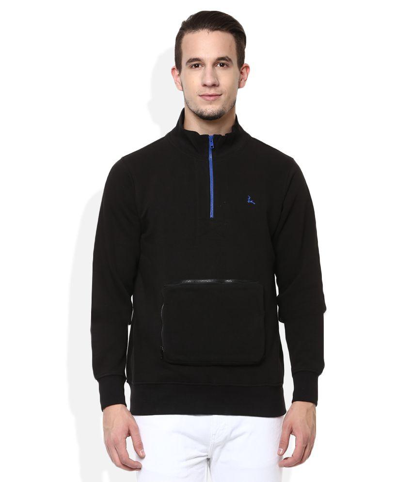 Parx Black Hooded Full Sleeves Solids T-Shirt