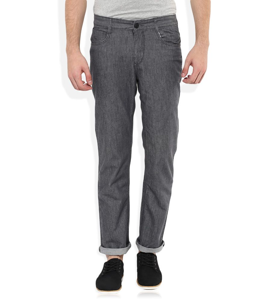 Parx Grey Regular Fit Solid Jeans