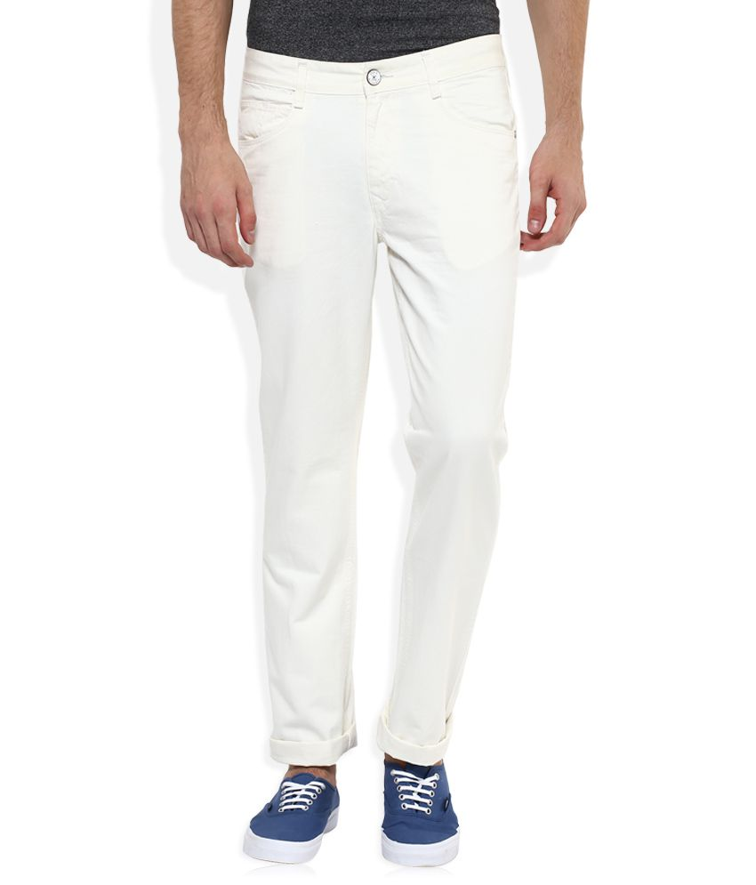 Parx White Regular Fit Solid Jeans