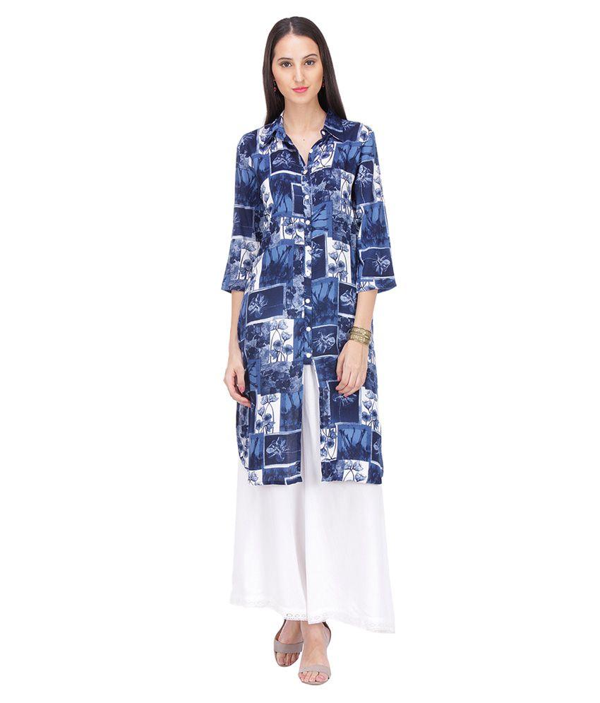 Riti Riwaz Multicoloured Rayon Shirt style Kurti