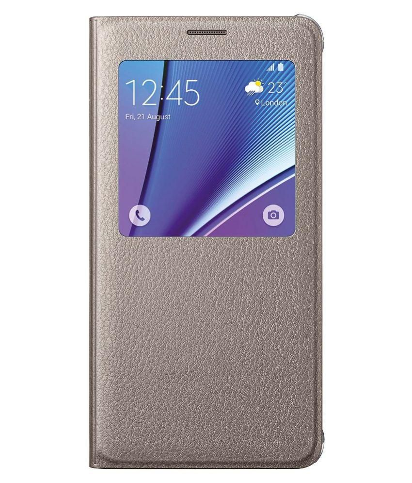 new concept d5f16 38303 Samsung Galaxy Note 5 Case S-View Flip Cover Folio - Gold