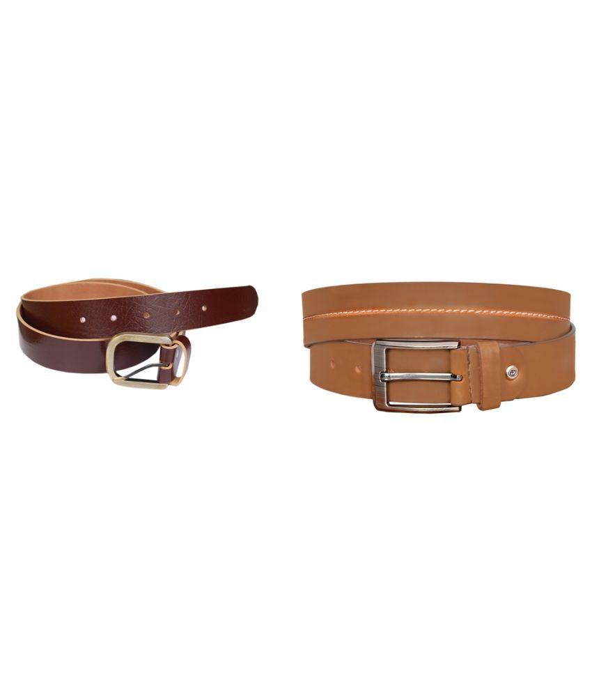 Sankalp Multicolour Leather Belt for Men  - Pack of 2