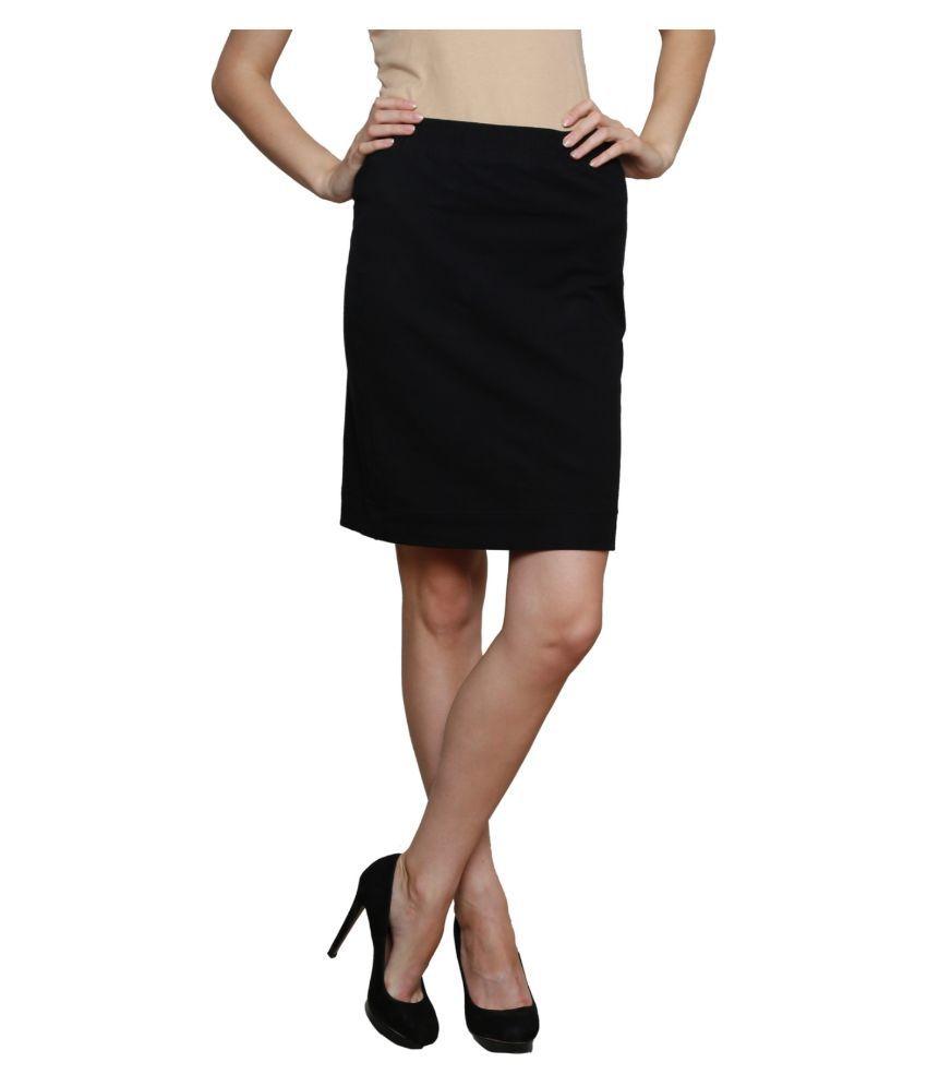 Finesse Black Cotton Lycra Straight Skirt