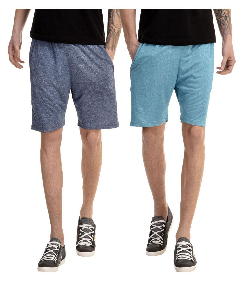 Meebaw Blue Shorts Pack Of 2