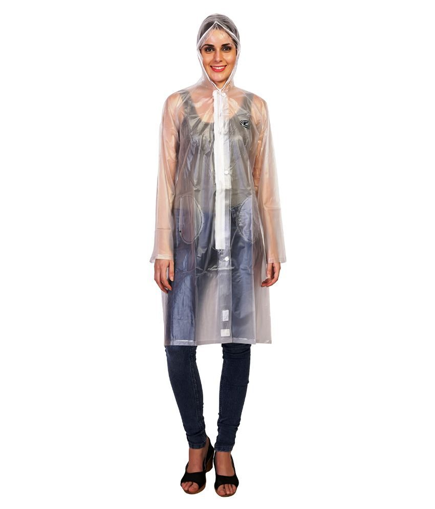 Zeel White Waterproof Raincoat