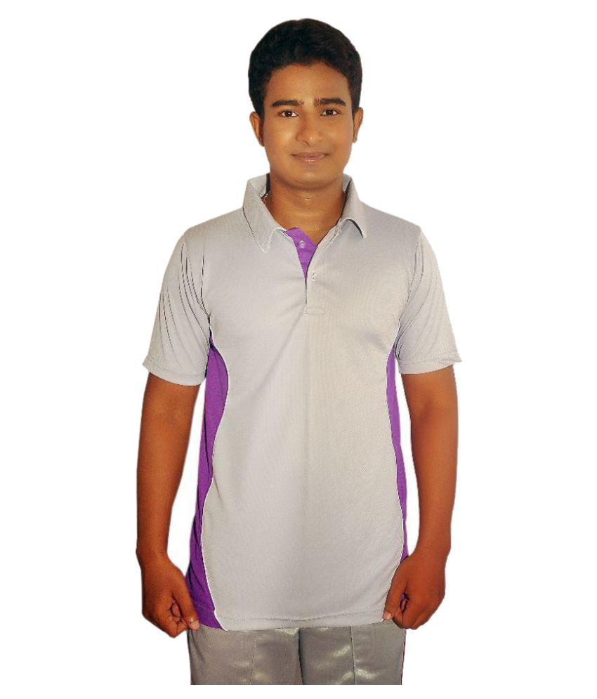 Dyed Colours Grey Regular Fit Polo T Shirt