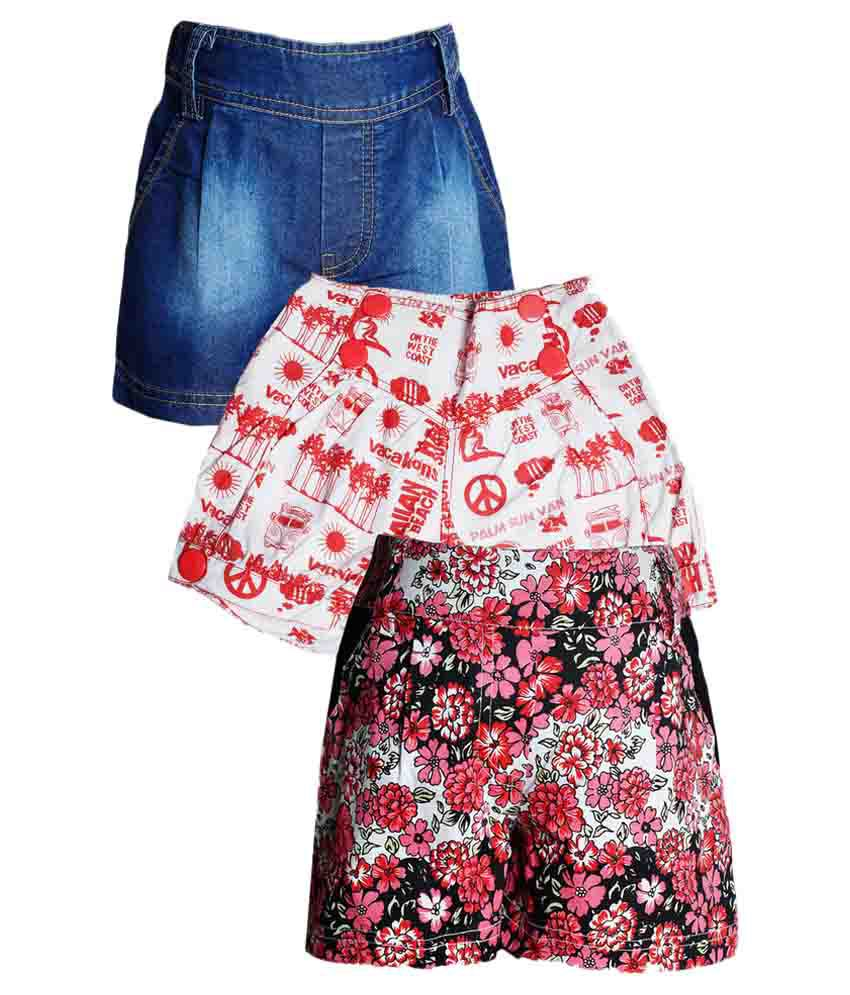 Naughty Ninos Girls combo pack of three Assorted printed Shorts