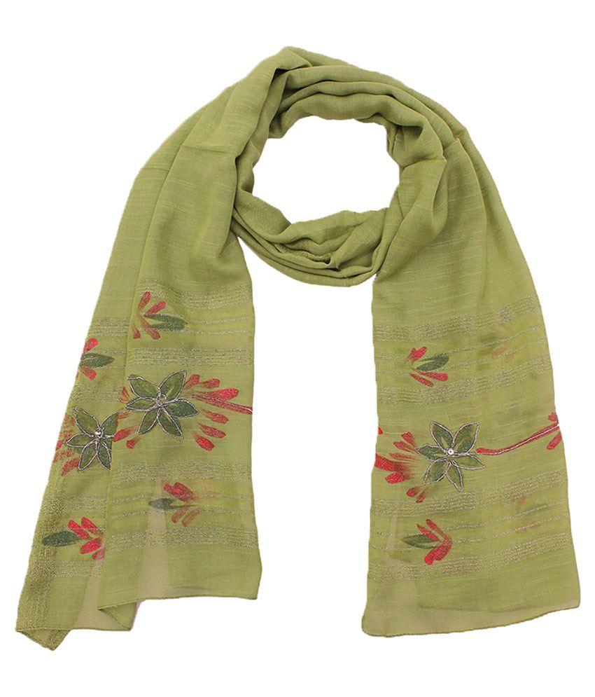 Panchi Green Viscose Kutch Embroidered Dupattas