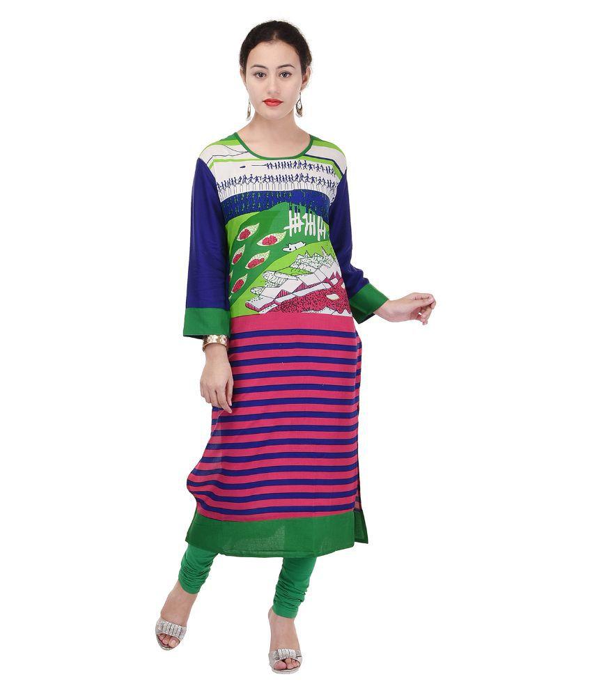 Style N Shades Multicoloured Rayon Straight Kurti