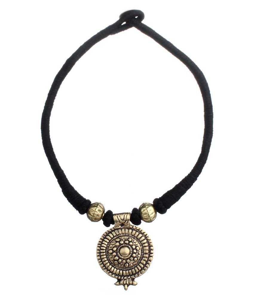Tribes India Necklace Black Thread with Brass Pendant