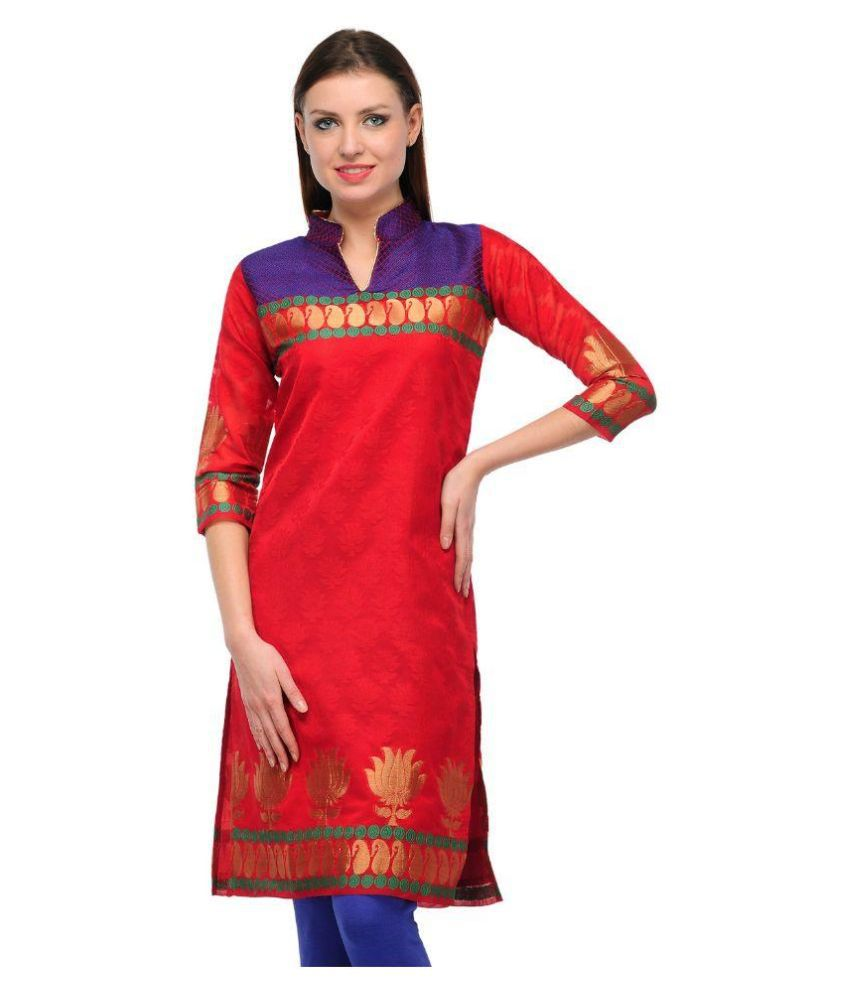 Visach Red Jacquard Straight Kurti