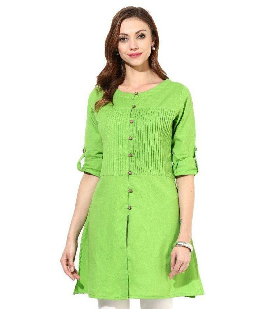 Thankar Light Green Cotton Straight Kurti