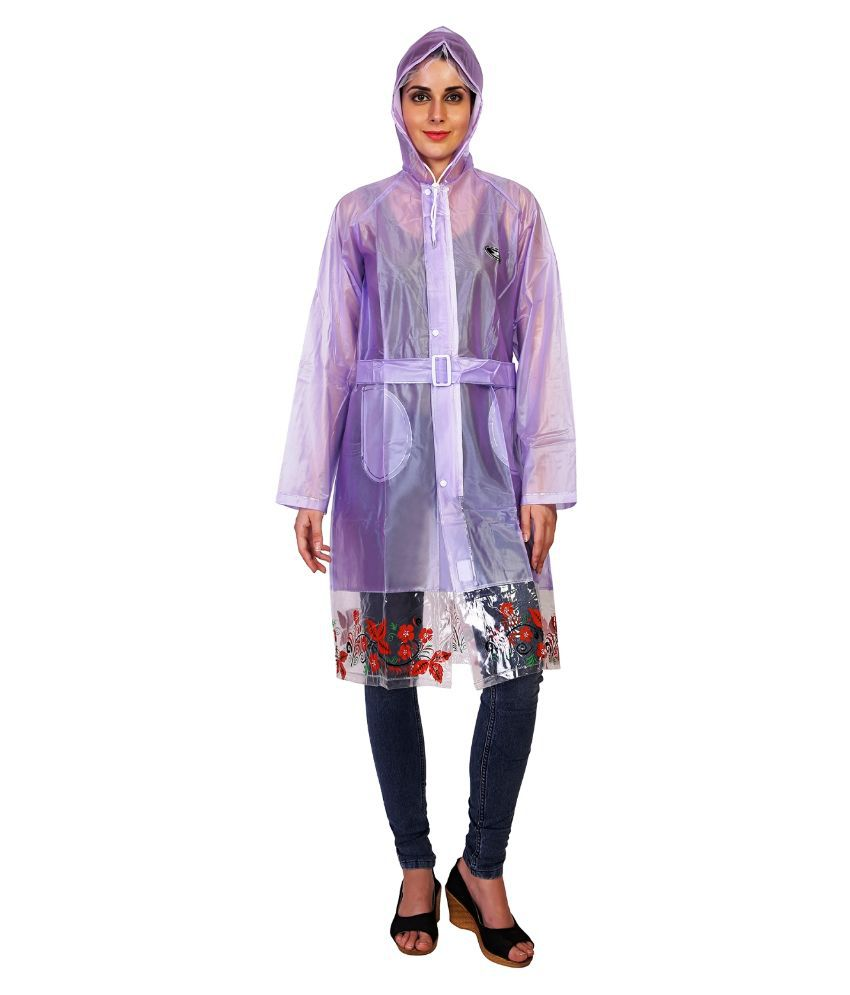 Zeel Violet Solid And Printed Raincoat  For Women