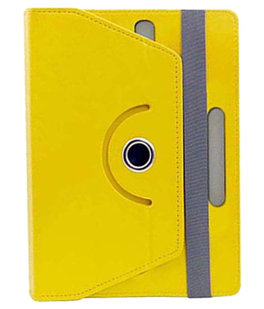 Corcepts Rotating Flip Cover for BSNL Champion Champion Wtab 7.4 - Yellow