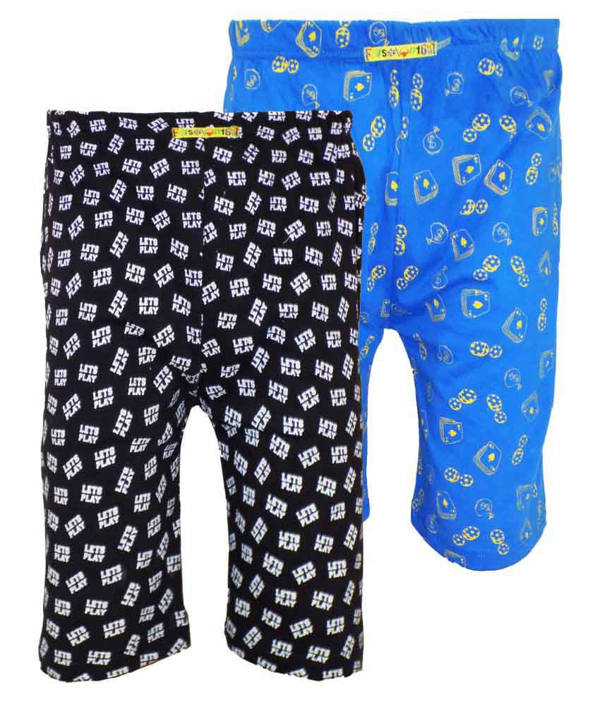 Fashionable Multicolor Cotton Shorts - Pack of 2