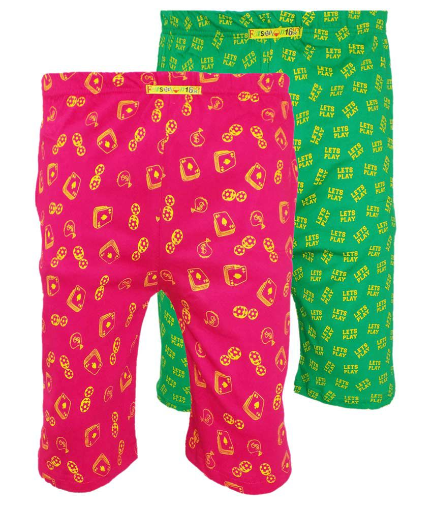 Fashionable Multicolour Cotton Shorts - Pack of 2