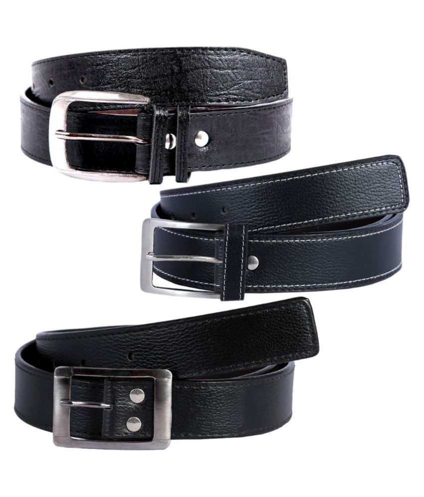Hardy's Collection Black Casual Belt for Men - Pack of 3
