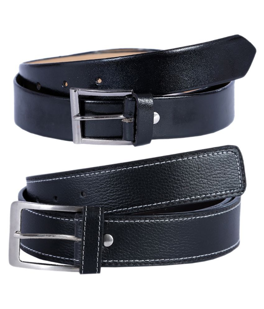 Hardy's Collection Black Casual Belt for Men - Pack of 2