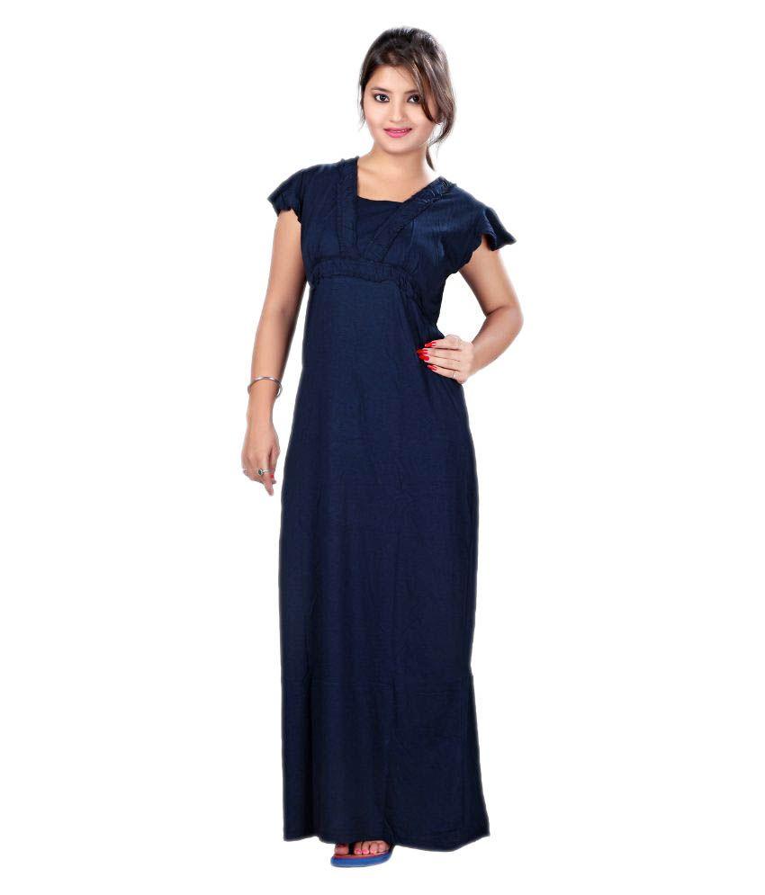 Mahaarani Blue Viscose Nighty & Night Gowns