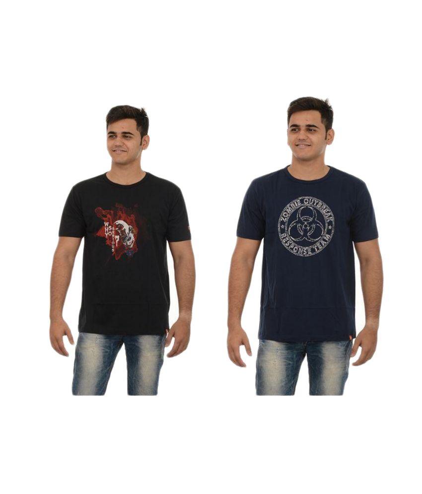Redrail Multi Round T Shirt Pack of 2