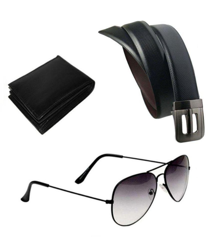 Kesari Black Casual Belt For Men With Wallet & Sunglasses