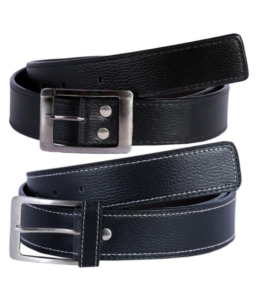Kritika World Black Casual Belt for Men - Pack of 2