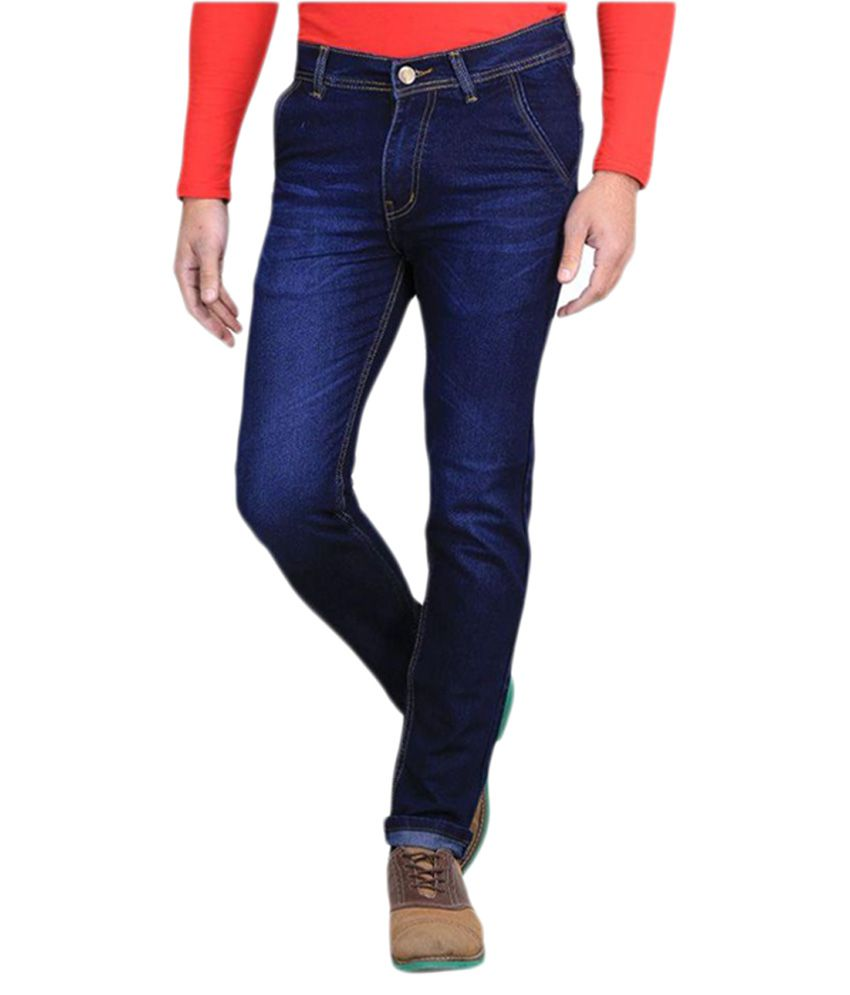 Ave Blue Slim Fit Solid Jeans