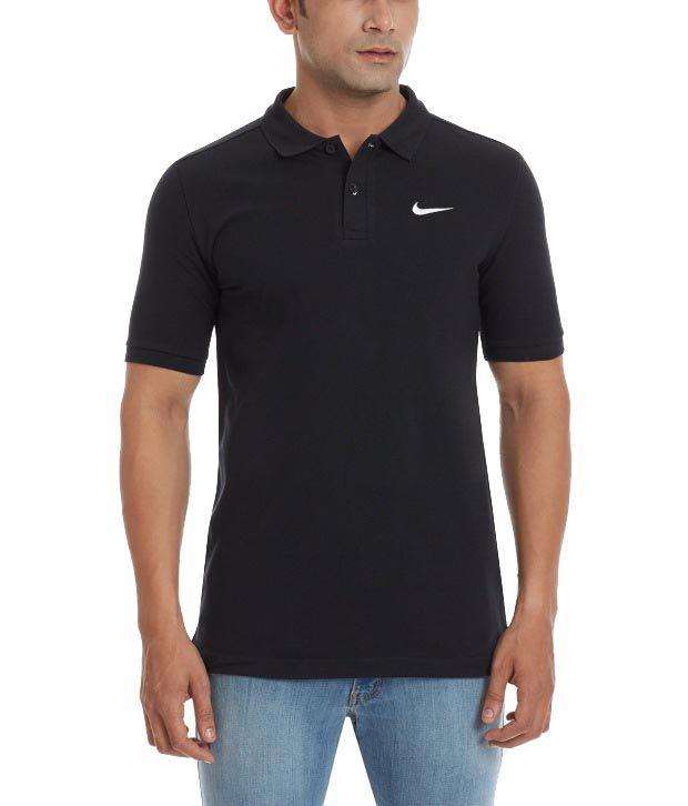 Nike Black Cotton Gym Polo for Men