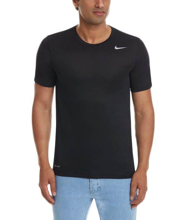 Nike Black Round Neck Polyester T-Shirt for Men