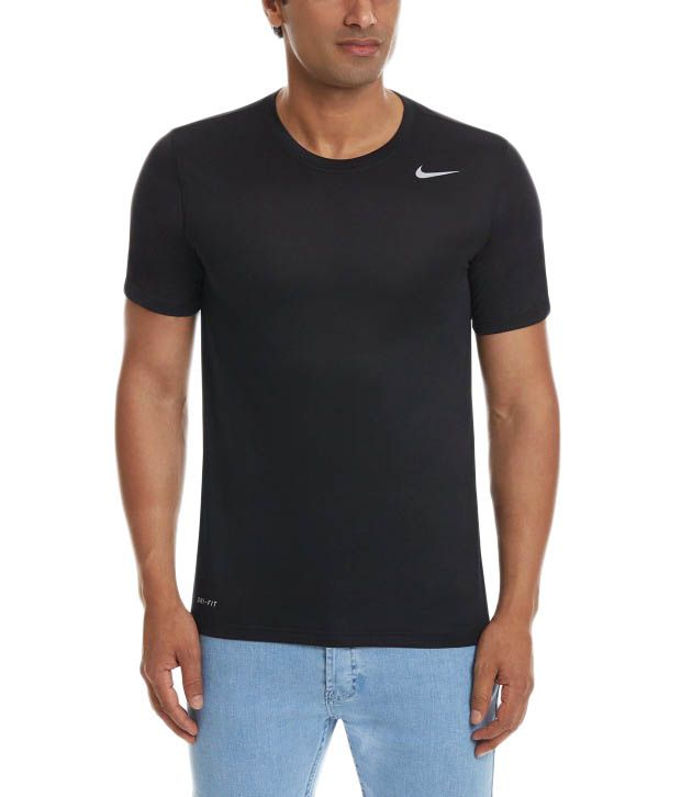 Nike Black Round Neck Polyester T-Shirt for Men