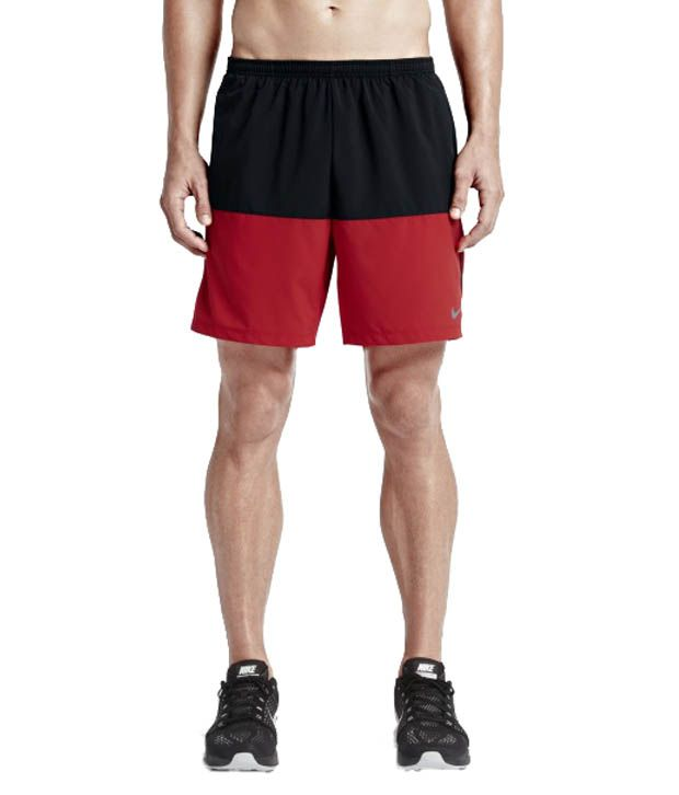Nike Black and Red 7 Inch Distance Running Shorts for Men