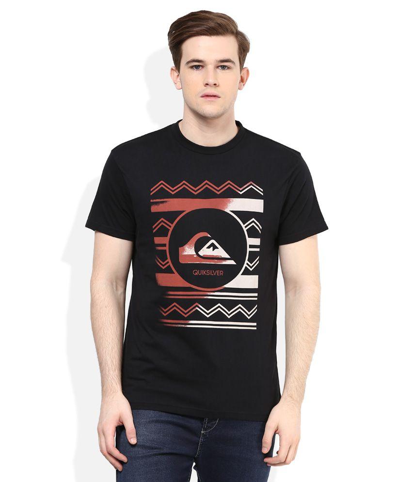 Quiksilver Black Printed Regular Fit T-Shirt